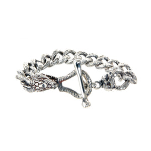 "Silver Bracelet ""Tiger and Dragon"" with Diamond Eyes"