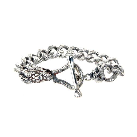 Silver Bracelet TIGER and DRAGON with Diamond Eyes