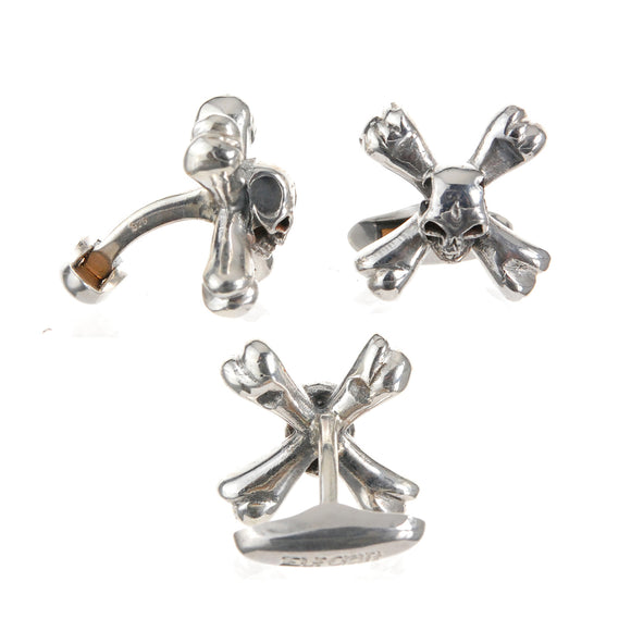 Silver Cufflinks SKULL on Cross Bones
