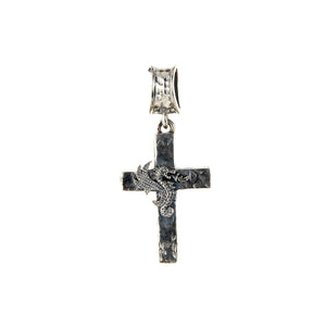 "Silver Pendant Hammered Cross with ""Dragon Fire"""