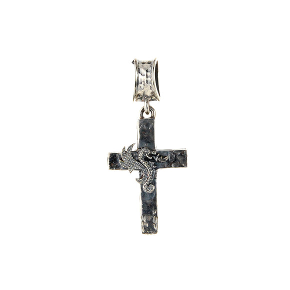 Silver Pendant Hammered Cross with