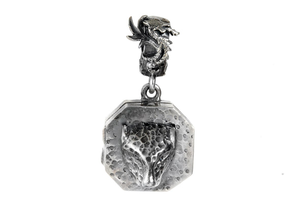 Silver Pendant Medaillon TIGER and DRAGON Hammered