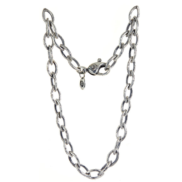 Silver NAVETTE Chain L Heavy Hammered