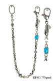 Silver Wallet Chain DRAGON Spiral Links and Turquoise