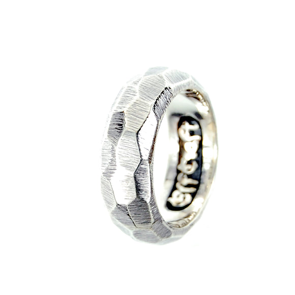 Silver Ring PLAIN ROUGH Facetted
