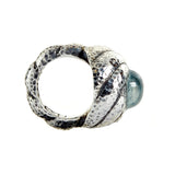 "Silver Ring Hammered ""Spiral"" Band S and ""Spiral"" Aquamarine Holder"