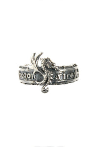 Silver Ring DRAGON FIRE Band with Dragon