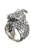Silver Ring DRAGON SCALES Band and DRAGON HEAD with Diamond Eyes