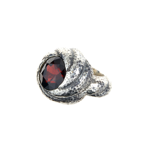Silver Ring Hammered Spiral Band and Spiral Garnet Holder