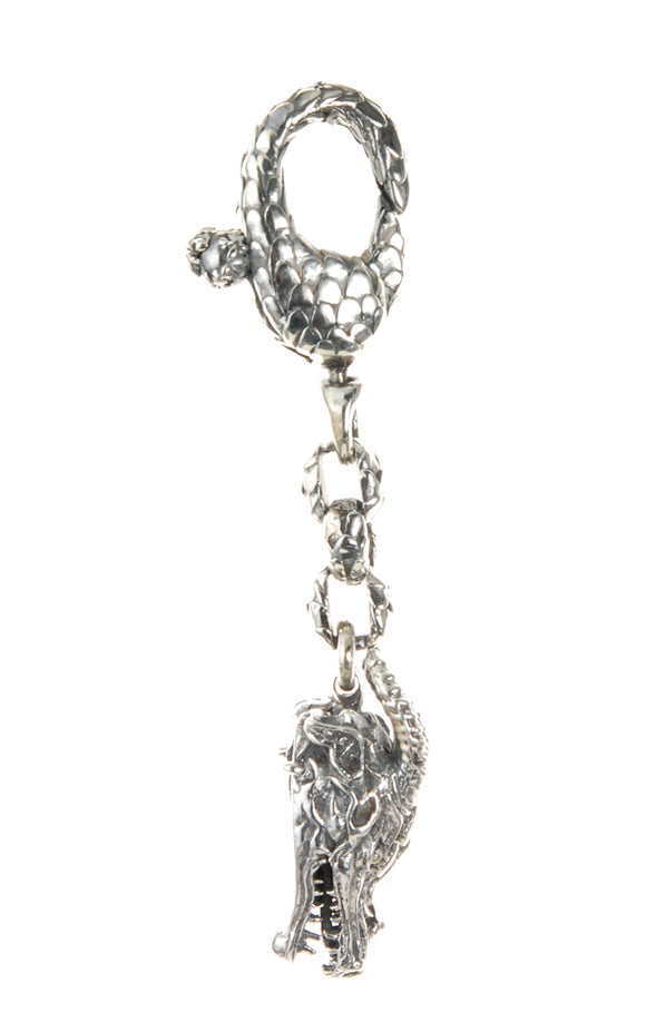 Silver Keytag DRAGON HEAD with DRAGON SCALES Karabiner