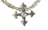 Silver Necklace BLADES CROSS Pendant and TUBES with BEADS