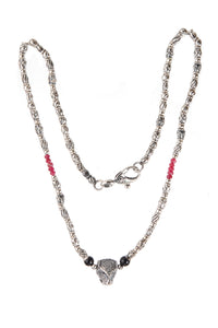 Silver Necklace Elfin´Tubes with Leopard and Rubies