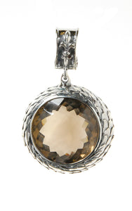 Silver Pendant Round with DRAGON SCALES and Facetted Stone