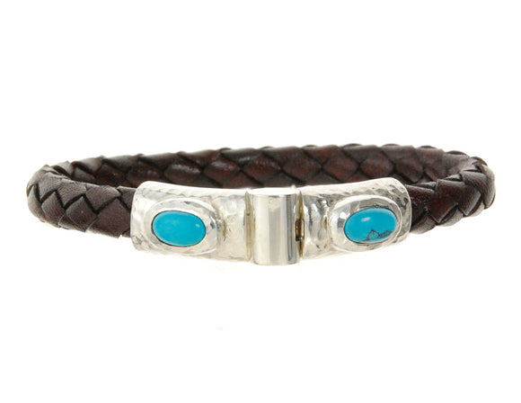 Silver Leather Bracelet Hammered Jointlock Oval Turquoise