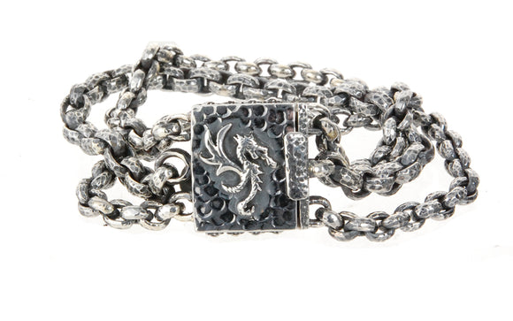 Silver Bracelet Triple Peas Chain with Dragon Fire Lock Hammered