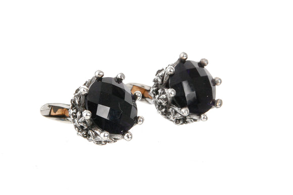 Silver Cufflinks CROWN with STONE