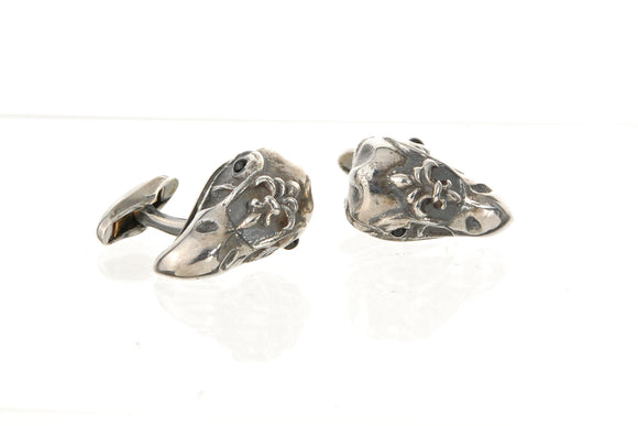 Silver Cufflinks Eagle Skull with Lily