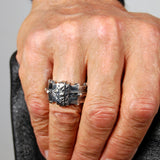 "Silver Ring ""Bound"" Facetted Body Rivets Hammered Bands tri"