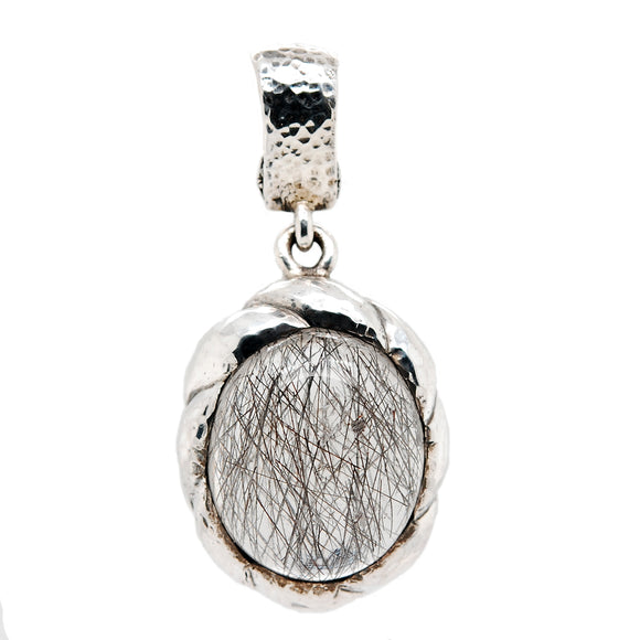 Silver Pendant SPIRAL with RUTIL QUARZ