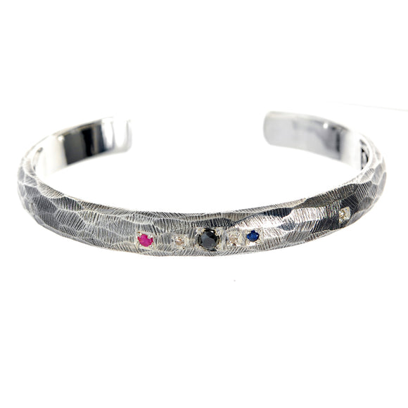 Silver Bangle SUN and PLANETS Facetted