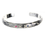 "Silver Bangle ""Sun and Planets"" Facetted"