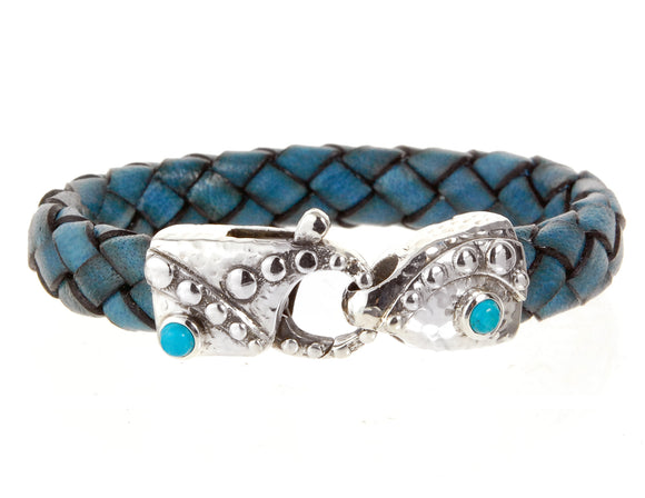 Silver Leather Bracelet LOBSTER CLAW with Turquoise and Dots
