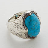 Silver Ring Hammered CROWN and Stone