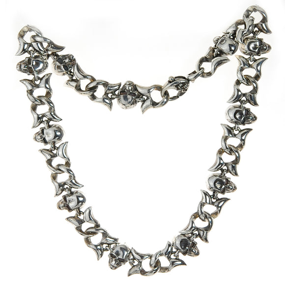 Silver Neckchain SKULLS and Swallowtails Curb Chain M with Karabiner