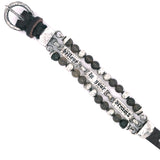 "Silver Leather Bracelet with Beads and Silver Plates ""Believe in your Dreams"" 15"