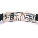 "Silver Leather Bracelet ""Carpe Diem"" Jointlock Facetted 6"