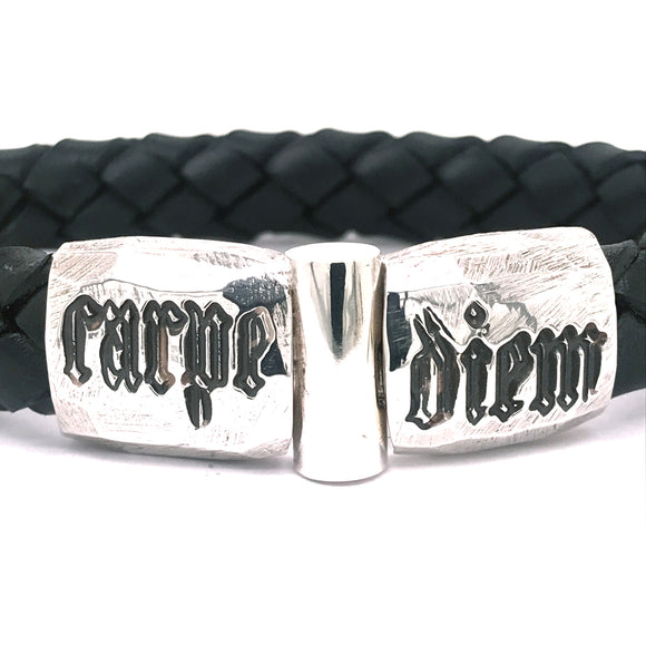 Silver Leather Bracelet CARPE DIEM Jointlock Facetted 13