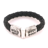 Silver Leather Bracelet WISH YOU WERE HERE Facetted Jointlock 13