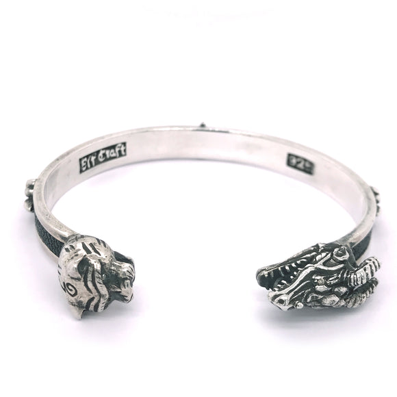 Silver Bangle TIGER and DRAGON Heads with Searay Stripe