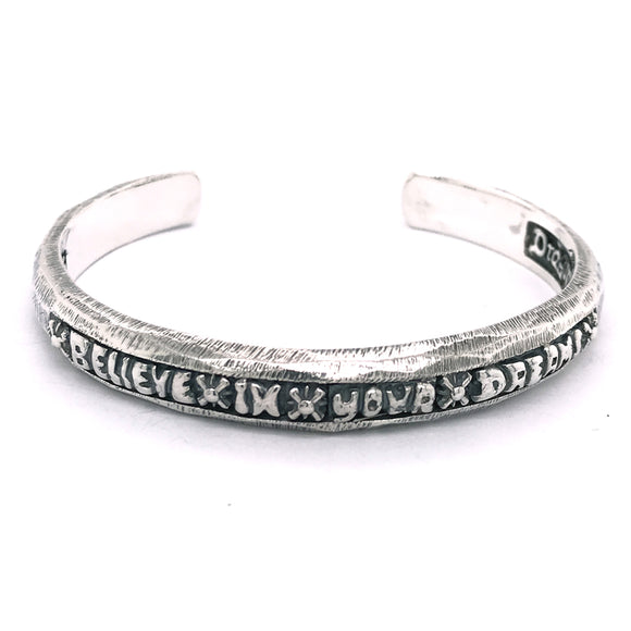 Silver Bangle Facetted with BELIEVE IN YOUR DREAMS