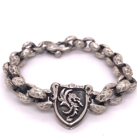 Silver Bracelet Facetted Peas Chain with DRAGON FIRE Shield