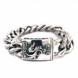 Silver Bracelet DRAGON FIRE Hammered Curb Chain