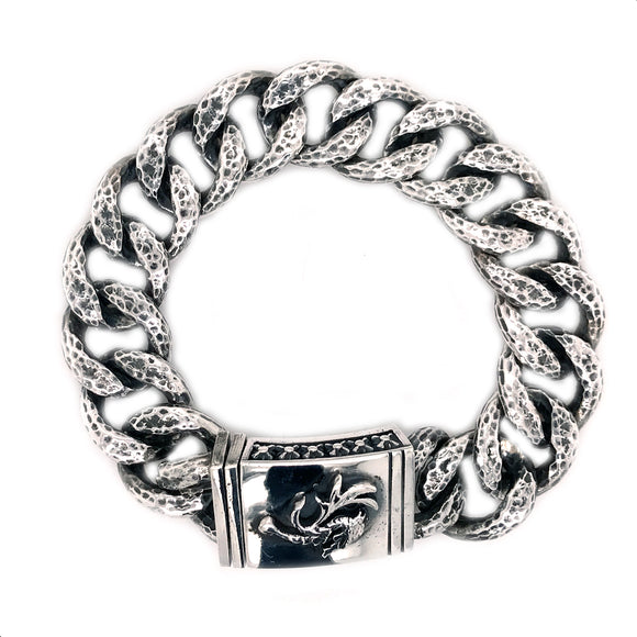 Silver Bracelet Hammered Links and DRAGON FIRE Lock