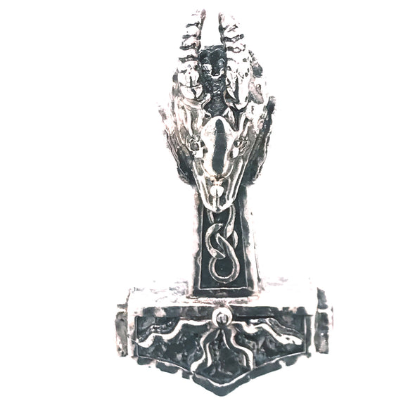 Silver Pendant THORS HAMMER and Dragon Head