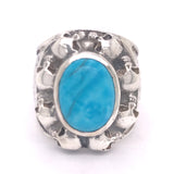 Silver Ring Oval STONE with SKULL Frame