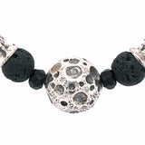 Silver Bracelet BEADS and Silver Balls DRAGON FIRE SKULL LILY and CROSSES Balls