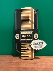 Bass Brushes - Bamboo Hair Comb  - The Green Brush n Comb - All made of 100% Bamboo Wood Handle | 100% Bamboo Wood Bristle