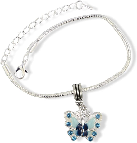 Emerald Park Jewelry Butterfly with Colored Enamel Snake Chain Charm Bracelet