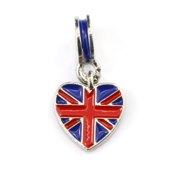 British Flag on Heart Charm