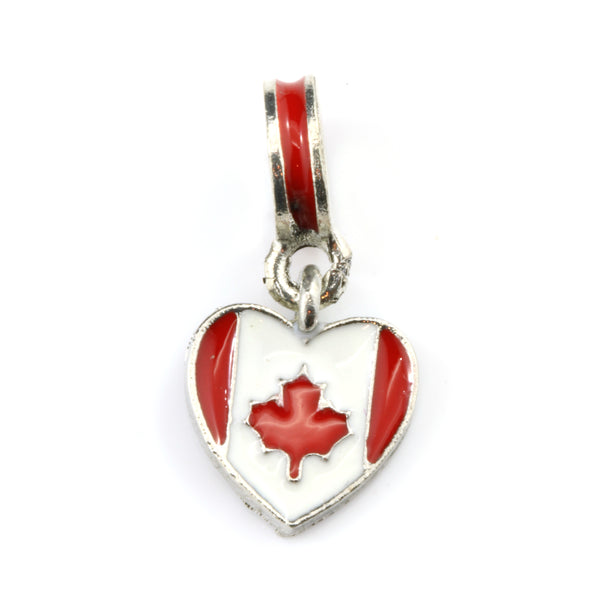 Canadian Flag on Heart Charm