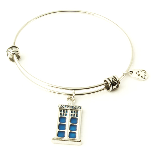 Police Box Bracelet | Bangle For Fans of the Popular TV Series Gift for Men Women Boys Girls Police Decor Call Box Policeman Box - Hypoallergenic