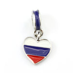 Russian Flag on Heart Charm