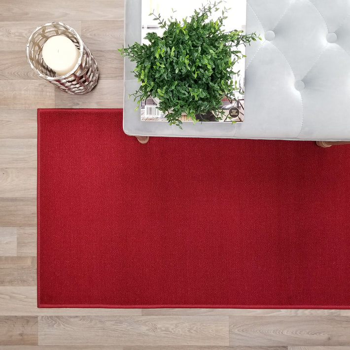 Solid Colored Custom Size Red Runner Rug