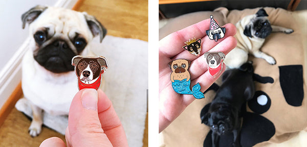 George pins with pugs