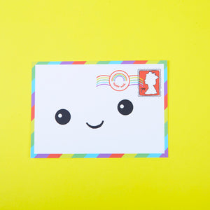 Cute Smiling Kawaii Envelope Postcard by Love Inca - Zabby Allen