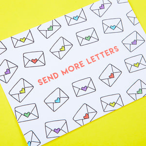 Send More Letters Envelope Pattern Postcard by Zabby Allen